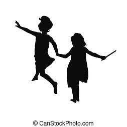 girls in silhouette playing