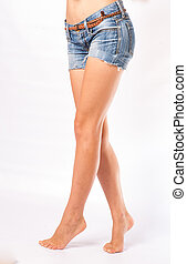 legs and jeans shorts - very sexy bare legs and jeans shorts
