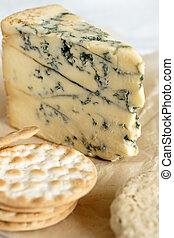 Stilton cheese and assorted crackers