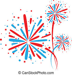 Firework on white - Big red and blue fireworks on white...