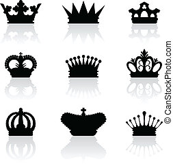 King crown icons - Set of nine black silhouette of king...
