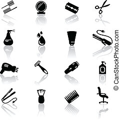 Hair salon icons - Set of black hail salon icons