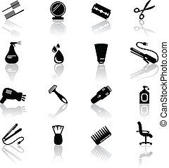 Hair salon icons - Set of black hail salon icons