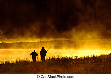 Fly Fishermen Madison River Yellowstone National Park -...