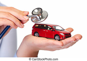 Hand with car Auto dealership and rental concept background...