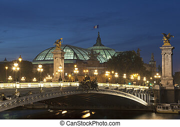 Alexander III bridge and Grand palais, Paris, Ile de France,...