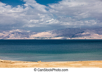 A deserted beach in the Dead sea