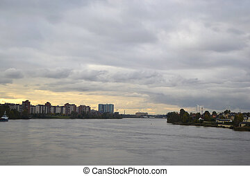 View of Neva river at cloudy day - View of Neva river at...