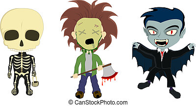 Halloween Costume Kids - A vector illustration of 3 kids in...