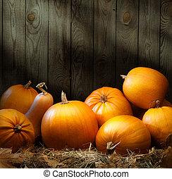 藝術, 秋天, 南瓜, 感恩, 背景