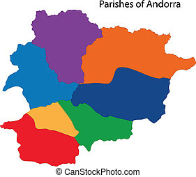 Colorful Andorra map - Map of administrative divisions of...