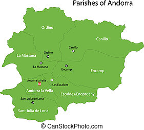 Green Andorra map - Map of administrative divisions of...