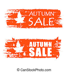 autumn sale drawn banners with fall leaf - autumn sale -...