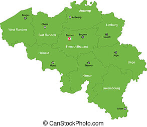 Green Belgium map - Map of administrative divisions of...