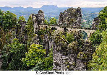 Bastei bridge in Saxon Switzerland in autumn, Germany