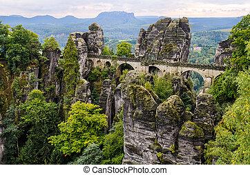 Bastei bridge in Saxon Switzerland in autumn, Germany