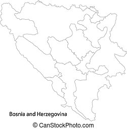 Contour Bosnia and Herzegovina map - Map of administrative...