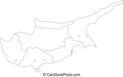 Cyprus map - Map of administrative divisions of Cyprus