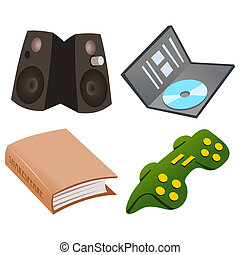 Gaming Icon Set - Four technology icons isolated over white...