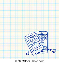 Mobile Phone Sketch - Drawing of two cell phones on vintage...