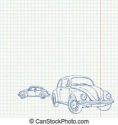 Retro Car Drawing - Vintage sketch of 60s iconic car on grid...