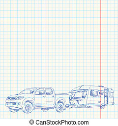 Caravan and Car sketch - Handmade blue drawing on shool...