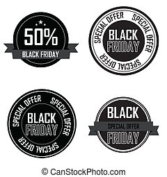 Black Friday labels - Black Friday special offer labels on...
