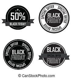Black Friday labels - Black Friday special offer labels on...