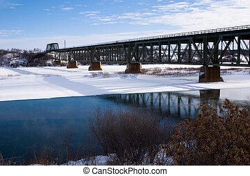 Train Bridge in Winter - The train bridge over the South...