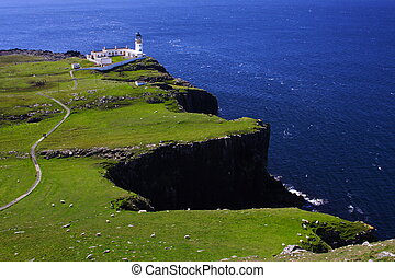 cliffs and blue sea in summer Neist Point lighthouse, isle...