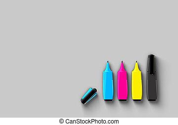CMYK Felt pens on grey - Top view of CMYK felt-tip pens on...