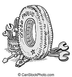 Car Tire and Tools - Rubber wheel and mechanic tools...