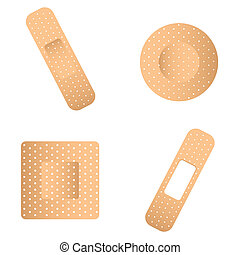 bandaid - abstract band aid of different shapes on white...