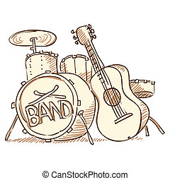 Drums and Guitar - Set of musical instruments isolated on...