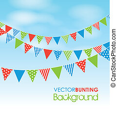 bunting on a sky background - coloured bunting on a sky...