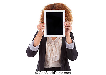 African American business woman holding a tactile tablet,...