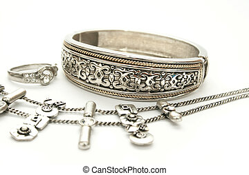 Bracelet,ring and necklace - Silver ancient style...