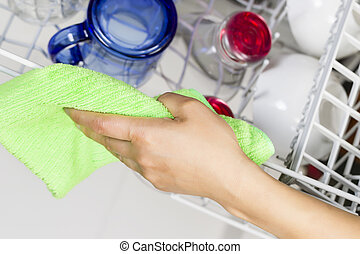 Cleaning Dishwasher Rack with Microfiber Rag