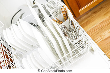 Dishwasher filled with Dinner Plates and silverware