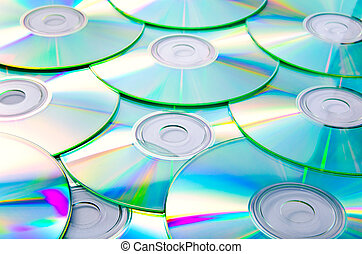 compact disks - a lot of compact disks as a background