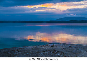 Beautiful morning near Fishing Cone hot spring yellowstone -...