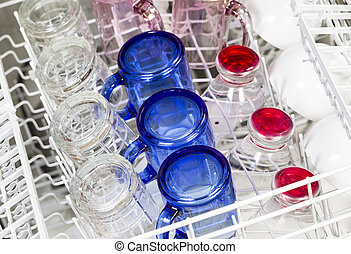 Glassware and dishes inside of Dishwasher