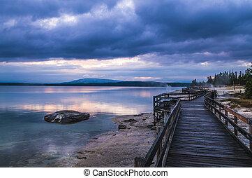 Beautiful morning near Fishing Cone hot spring yellowstone -...
