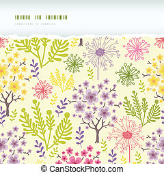 Blossoming trees horizontal torn frame seamless pattern background