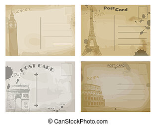 Set of vintage postcard designs with London, Paris and Rome,...