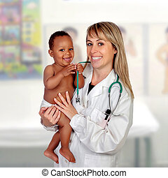 Adorable baby with his pediatrician isolated on a white...