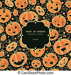 Halloween pumpkins frame seamless pattern background -...