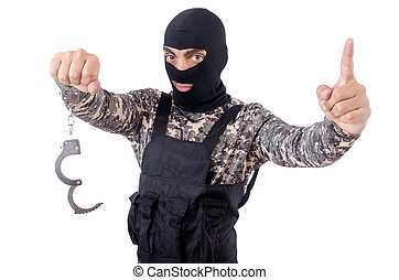 Soldier with handcuffs isolated on white