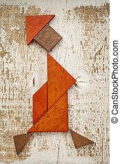 tangram, andar, mulher, figura