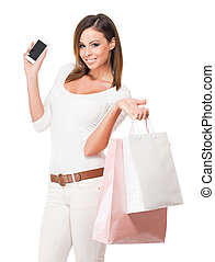 Cool happy shopper. - Portrait of a cool happy shopper young...